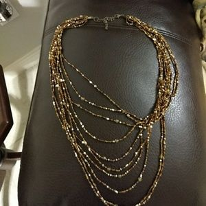 Jewelry - Multi strand brown and tan necklace